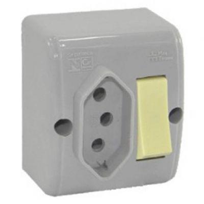 Interruptor 1 Tecla   Tomada 10a cz Mectronic