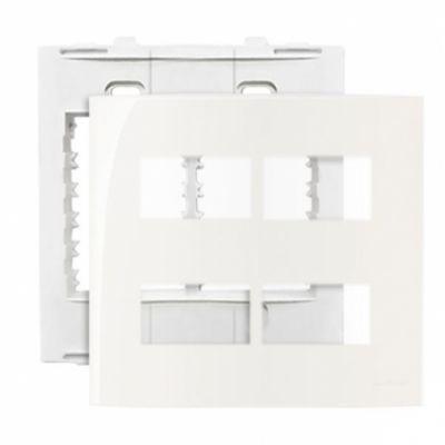 Placa 4x4 4 Postos Horiz Branca Com Suporte Sleek