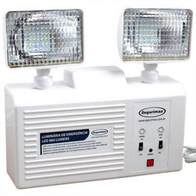 Luminaria Emergencia c/ Bateria Selada 960 Lumens 2 Farois Led Segu