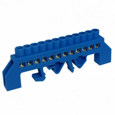 Barramento de Neutro 12 Furos Azul