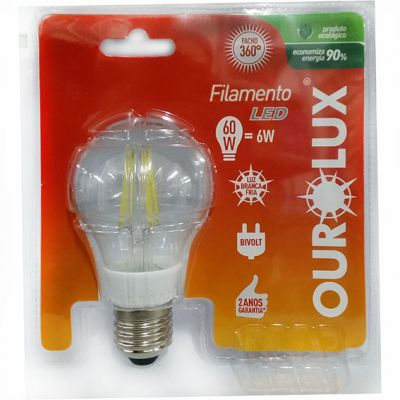 Lampada Led Filamento 6w 6400k Ourolux