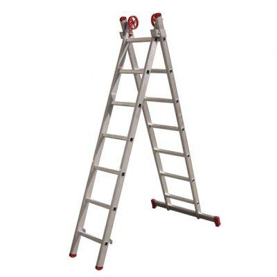 Escada Aluminio 11dx2  5,56m c/ Barra Estabilizadora Botafogo