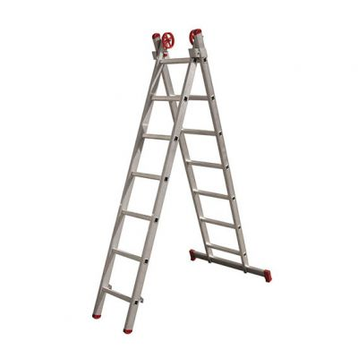 Escada Aluminio 07dx2  3,32m c/ Barra Estabilizadora Botafogo
