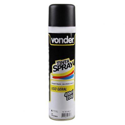 Tinta Spray Preta Brilhante Vonder 400ml