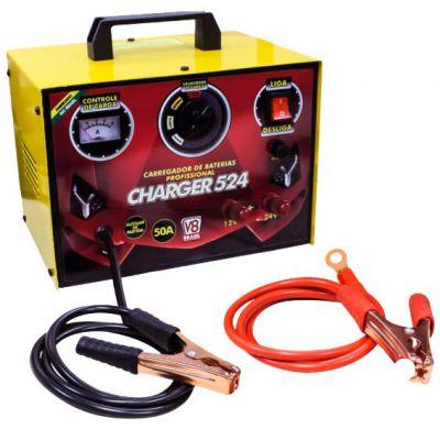 Carregador Bateria Charger 524 12v/24v 50a Aux Partida v8