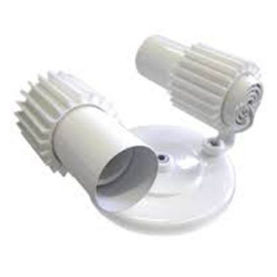 Spot 2 Lâmpadas Branco c Aletas Brancas Amplaluz