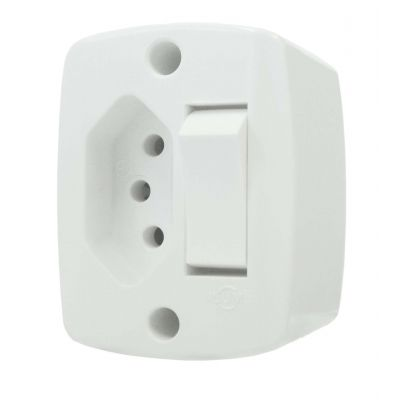 Interruptor Ext Ret Simples c/ Tomada 10a br - Ilumi