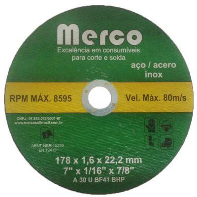 Disco Corte Aço/inox 180x1,6x22 Merco