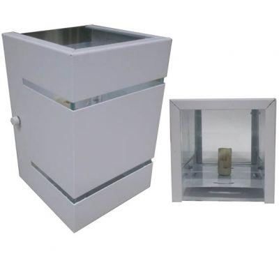 Arandela Sobrepor Aluminio Branca s/ Base 2 Fachos   2 Frisos