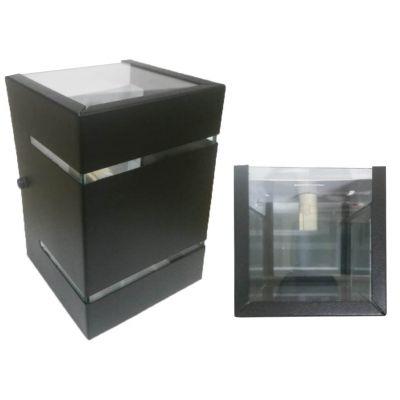 Arandela Sobrepor Aluminio Preta s/ Base 2 Fachos   2 Frisos