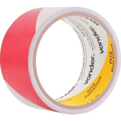 Fita Adesiva Refletiva 50mmx3m Vermelho/branco Vonder