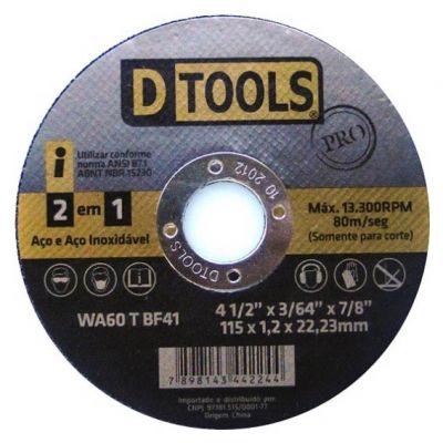 Disco Corte Aço/inox 115x2,5x22,22  3 em 1  Dtools