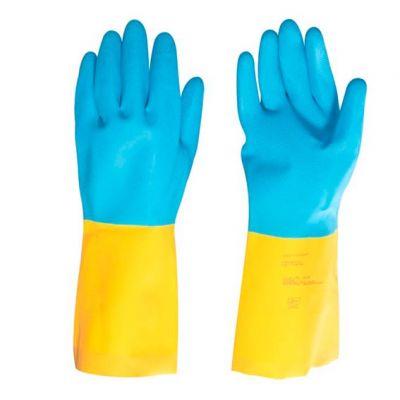 Luva Latex / Neoprene g  Amarela/azul Vonder